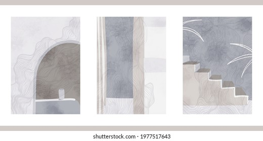 Set of three abstract graphic aesthetic backgrounds with stairs, arc, leaves in Boho style. Trendy vector illustration in gray colors for wall decoration, postcard or brochure, social media.