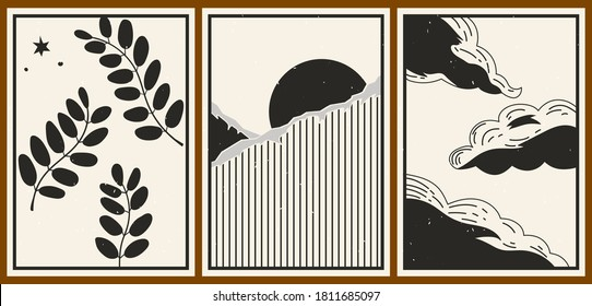 Set of three abstract minimalist aesthetic backgrounds with sun, mountains, clouds, plants, dots, thin lines. Trendy colorful vector illustration for social networks, web design in vintage style.