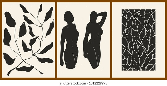 Set of three abstract minimalist aesthetic backgrounds with thin lines, floral patterns, plants, woman. Trendy colorful vector illustration for social networks, web design in vintage boho style.
