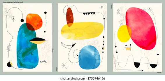 Set of three abstract minimalist hand-drawn illustrations for wall decoration, postcard or brochure, cover design. Doodle backgrounds contains various shapes, spots, drops, lines. Memphis style.