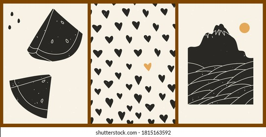 Set of three abstract minimalistic aesthetic backgrounds with watermelon, hearts, mountains, sea, sun, lines. Trendy colorful vector illustration for social networks, web design in vintage boho style.