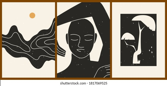 Set of three abstract minimalistic aesthetic backgrounds with woman face, sun, tree, shapes, thin lines. Trendy colorful vector illustration for social networks, web design in vintage boho style.