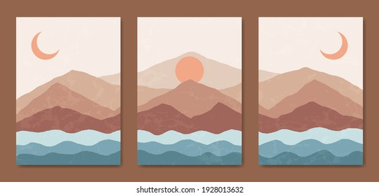 Set of three Abstract vintage minimalist aesthetic Landscape Background. Contemporary natural Mid Century Modern Illustrations Boho Poster cover.