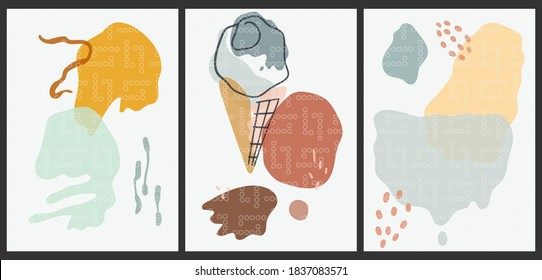 A set of three aesthetic vintage Japanese-patterned backgrounds. Abstract posters for social networks, web design. Fashion illustrations with ice cream, geometric shapes, smudges, dots.