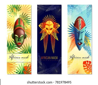Set of three african vertical banners with ethnic masks for ghost dance and colourful tree leaves vector illustration