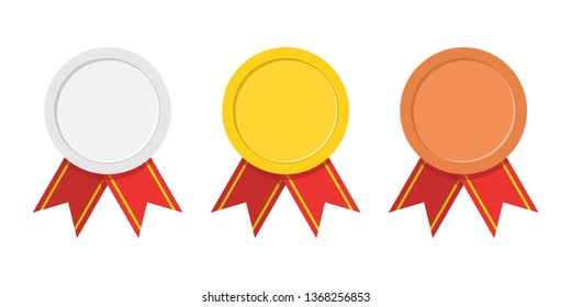 Set of three award medals - gold, silver, bronze. Winner medal with red ribbon icon. Premium badges. Championship award. Achievement, victory concept. Vector illustration