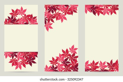 Set of three background design for vertical banner template with red leaves