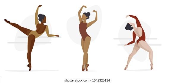 Set of Three Ballet Characters - Diversity Concept, Ballerinas