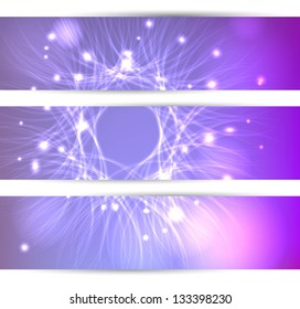 Set of three banners with abstract design with shiny particles. Ideally as banners for business messages or websites.