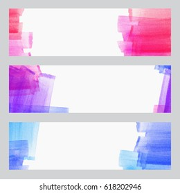 set of three banners, abstract headers with watercolor look colorful strokes, abstract background artistic collection