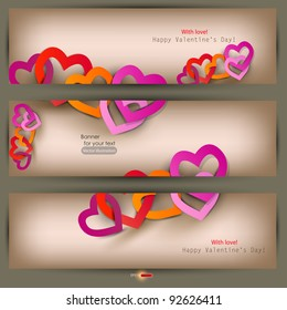 Set of three banners with paper hearts. Valentine's Day. Vector illustration