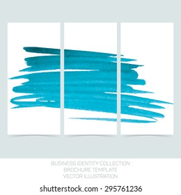 Set of three banners posters, abstract headers with  turquoise tiffany teal watercolor blot. Vector Illustration EPS10.