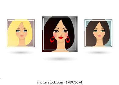 Set of three beautiful girls avatar. Vector illustration