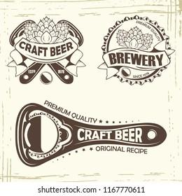 Set of three beer badge, grange print stamps, monochrome style, vector