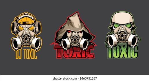 Set of three bio masks with the inscription Toxic.