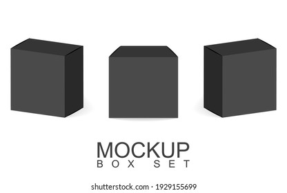 A set of three black boxes. Box templates for your design. Vector illustration.