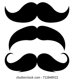Set of three black retro mustaches isolated on white background. Vector illustration