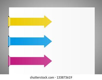 Set of three blank arrows with ribbon effect / ribbon effect arrows