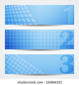 Set of three blue tech web banners with halftone pattern