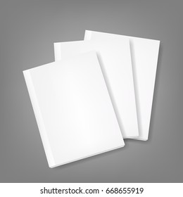 Set of three book/magazine template on isolated background. Mockup template ready for design.