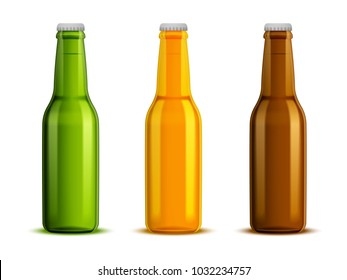 A set of three bottles of glass for beer, different colors of green, yellow and brown.