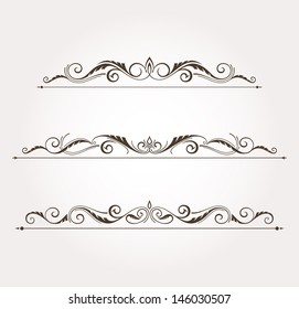 Set of three calligraphic floral design elements and page decoration. Vector illustration