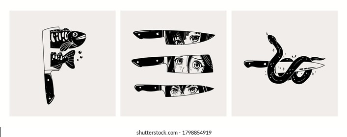 Set of three cards or icons. Blades with Manga anime Eyes, Snake, Fish. Abstract Hand drawn Vector trendy illustrations. Cool simple design. Minimalistic style. Tattoo or print idea.