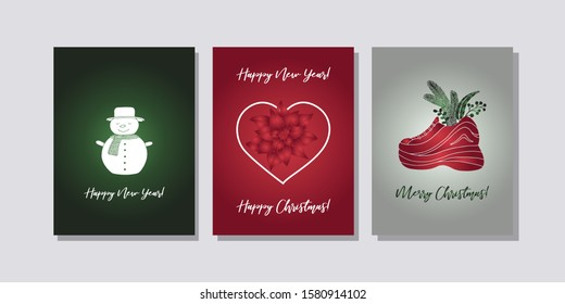 Set of three cards Merry Christmas and Happy New Year