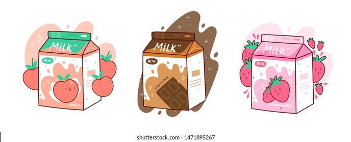 Set of three cartons of milk. Three various tastes. Chocolate, strawberry and peach. Asian product. Hand drawn colored trendy vector illustration. Kawaii anime design. Cartoon style