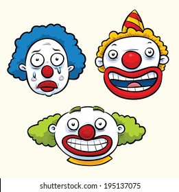 A set of three cartoon clown faces with funny expressions.
