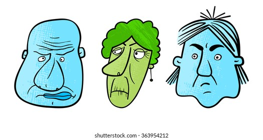 Set of three cartoon faces with an expression of negative emotions. Vector.