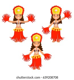 Set of three cartoon polynesian female dancers in ethnic outfit made of red and yellow grass and seashells
