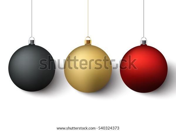 Set of three christmas balls with shadows on a white background. Vector, eps10.