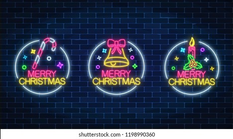 Set of three christmas illustrations in neon style. Three holiday signs in circle frames with candy, christmas bell and holiday candle with holly. Vector illustration.