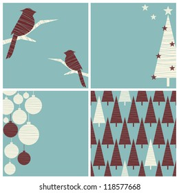 A set of three Christmas images with copy space and one seamless pattern.