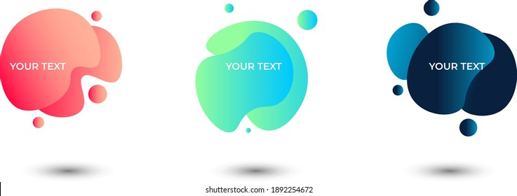 Set of three colored abstract modern text frames with rounded graphic elements. Vector illustration.