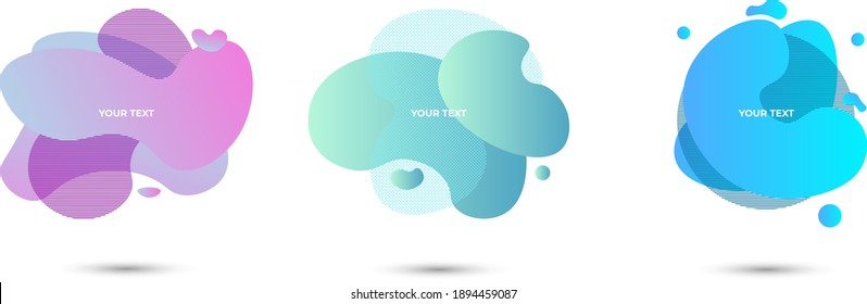 Set of three colored abstract modern graphic elements. Vector illustration. Light violet and blue. Modern graphic design for posters, flyers, booklets, covers, wallpaper.