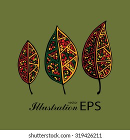 Set of three colored ethnic mexican tribal leaves, green background, hand drawn vector illustration