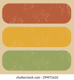 Set of three colored rubber stamp templates without words