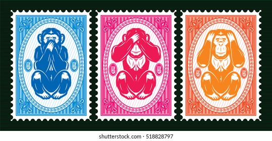 set of three colored vector template with three monkeys