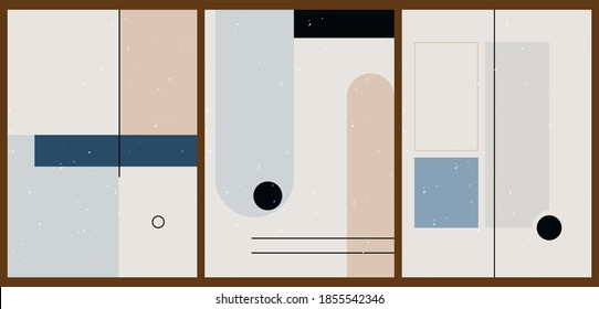 A set of three colorful aesthetic geometric backgrounds. Minimalistic posters for social media, cover design, web, home decor. Vintage illustrations with stripes, shapes, circles, lines.