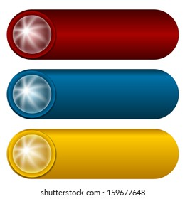 set of three colorful buttons with rays