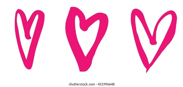 Set of three colorful heart doodles. Brush stroke, free hand.
