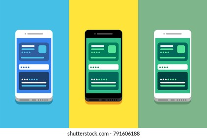 Set of three colorful modern smartphones with interface on screen. On colorful backgrounds