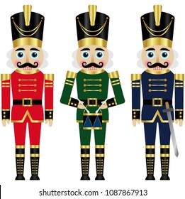 Set of a three colorful nutcrackers
