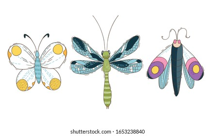 Set of three colorfull  butterfly, outline illustration, isolated on the white background. Vector illustration