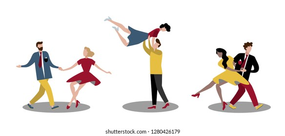 Set of three couples dancing Jitterbug on an isolated white background. Element for design. Vector image