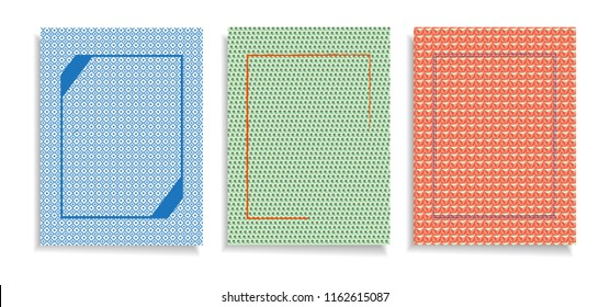 Set of three cover design template.  Geometric  backgrounds for  posters,cards, banners, flyers