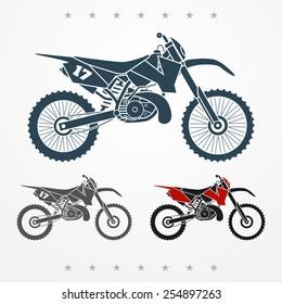 Set of three cross two-stroke flat looking motorcycles
