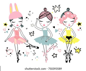 Set of three cute ballerina dancer girl with star and heard symbols for t-shirt print, sticker, flayer, banner and invitation design. Vector illustration.